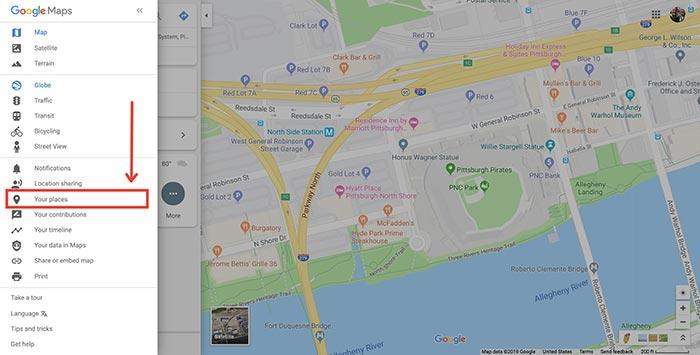 Google Maps menu