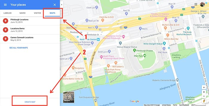 google maps create a map