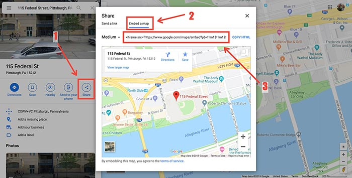 Google Maps embed a map link