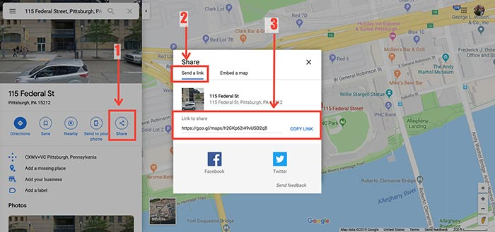 Google Maps share link