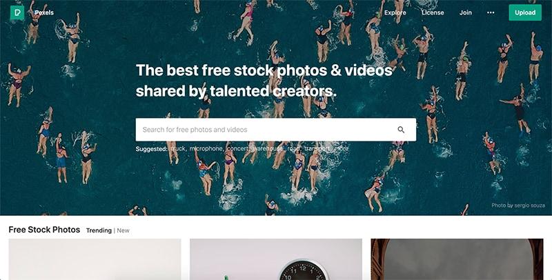 Pexels.com homepage screenshot