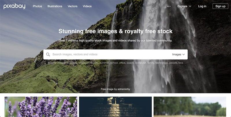 Pixabay.com homepage screenshot