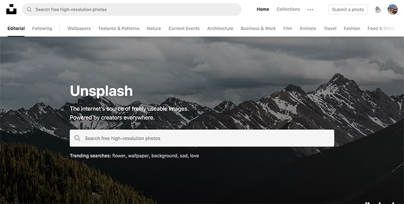 unsplash.com homepage screenshot